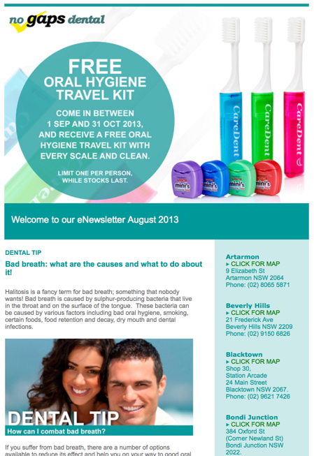 dental email newsletter
