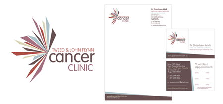 Tweed & John Flynn Cancer Clinic Logo & Stationery Design