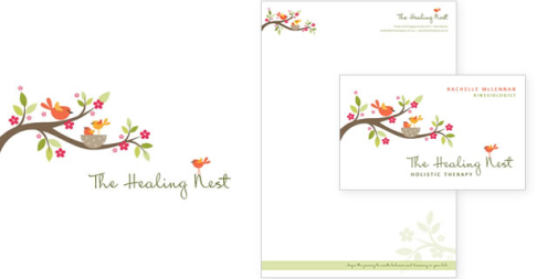 The Healing Nest Logo & Stationery